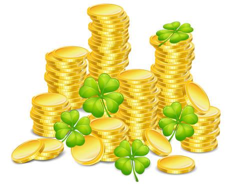 Golden coins with four leaf clover, vector illustration, for St. Patricks day  Vector