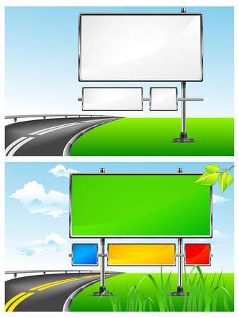 Landschaft mit leeren Werbetafeln für Werbung und highway