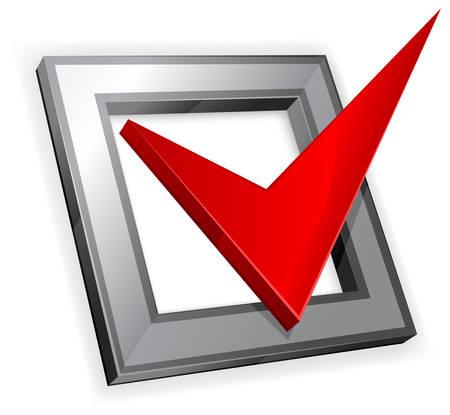 tick: Case � cocher avec coche rouge isol� sur fond blanc Illustration