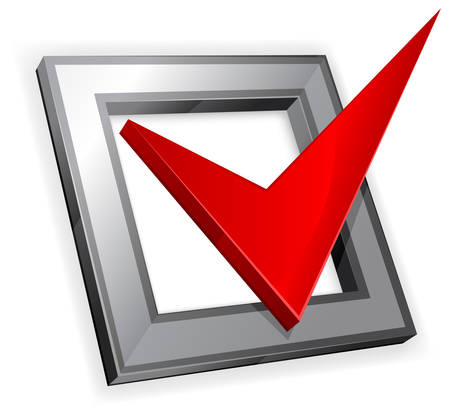 tick icon: Checkbox with red checkmark isolated on white background