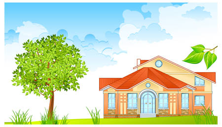 Landscape with house and nice green court yard Stock Vector - 8729283