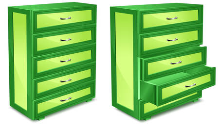 Wooden commode with drawers in green isolated over white Illustration