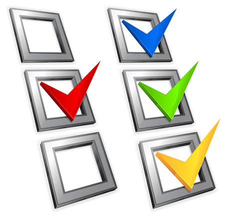 affirmative: Checkboxes with color checkmarks Illustration