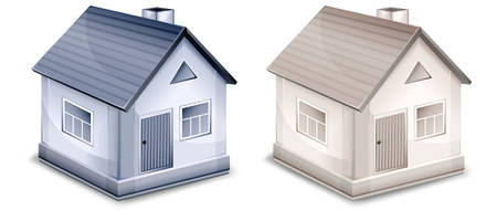 Two small village houses with windows, doors and roofs Stock Vector - 8845167