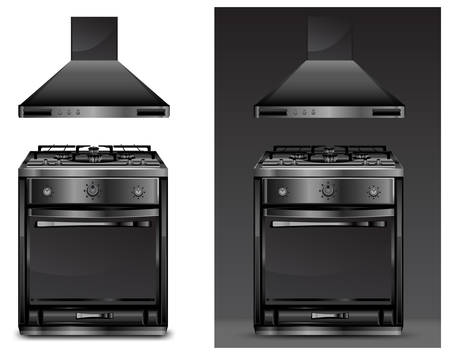 gas cooker: Black gas cooker over on white and black background