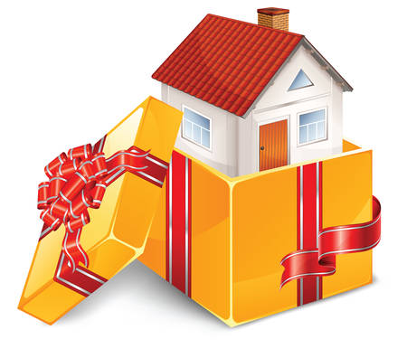 immovable property: small beautiful house in open box with bow business idea vector