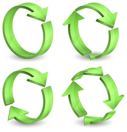 refrescarse: Flechas alrededor de círculos aisladas sobre fondo blanco, ilustración vectorial