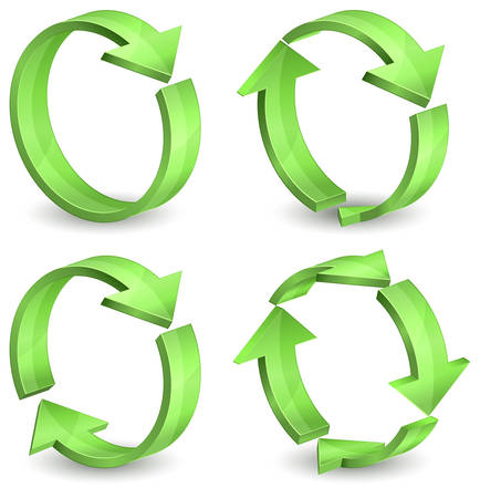 opfrissen: Pijlen rond cirkels geïsoleerd op een witte achtergrond, vectorillustratie  Stock Illustratie