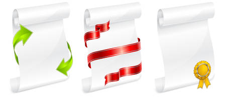 scroll white paper with ribbon for writing vector illustration Stock Vector - 8976598