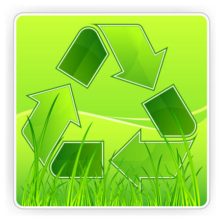 Green recycle symbol on grass background Stock Vector - 9059036