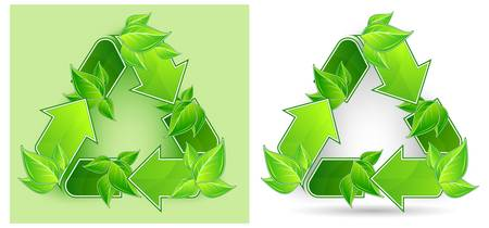 Recycle symbol from green arrow and leaves isolated on white background, vector illustration Stock Vector - 9140850