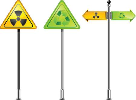 dangerously: carefully dangerously, radioactive waste, sign of pollution environment, vector illustration Illustration