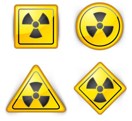 carefully: nuclear symbol, carefully dangerously, radioactive waste, sign of pollution environment, vector illustration