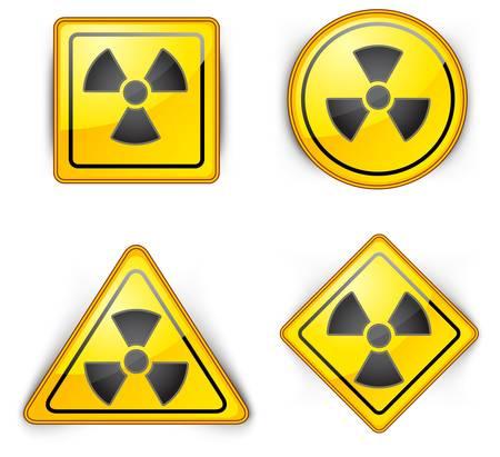 symbole nucléaire, soigneusement dangereusement, les déchets radioactifs, signe de l'environnement de la pollution, illustration vectorielle