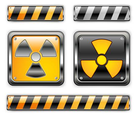 dangerously: nuclear icon, carefully dangerously, radioactive waste, sign of pollution environment, vector illustration