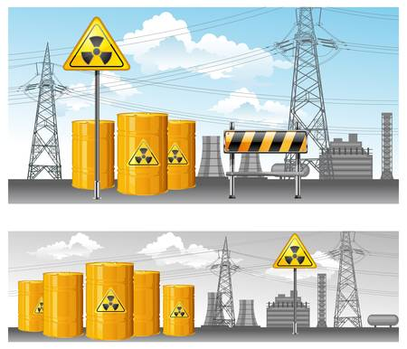 nuclear territory, radioactive waste, pollution environment,  Stock Vector - 9192158