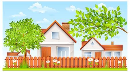 haus garten: l�ndliche Landschaft, H�uschen mit Zaun und Garten Illustration