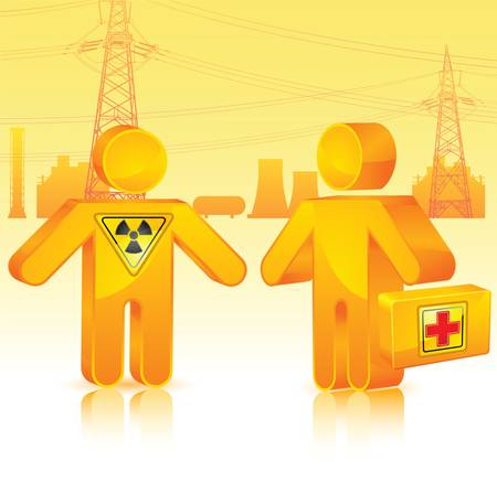 radioactive waste: human with medicine chest on polluted radioactive waste territory