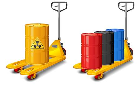 Yellow pallet truck shot with barrel of radioactive waste Vector