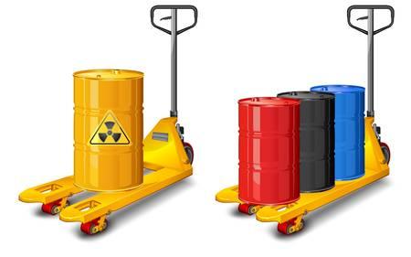 barrel radioactive waste: Yellow pallet truck shot with barrel of radioactive waste