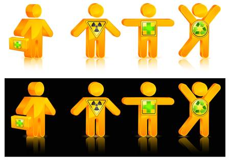 human with different danger icon and medicine chest  vector illustration Vector