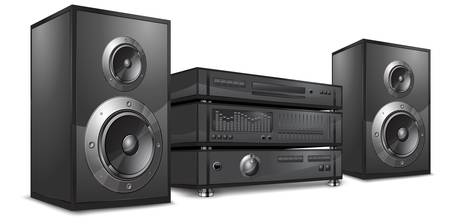 equipo de sonido: Sistema de audio, centro de música de alta fidelidad en blanco, ilustración vectorial  Vectores
