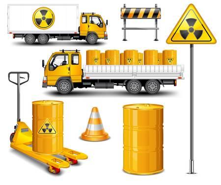 Transporter avec canon de déchets radioactifs et signe de rod, illustration vectorielle  Vecteurs