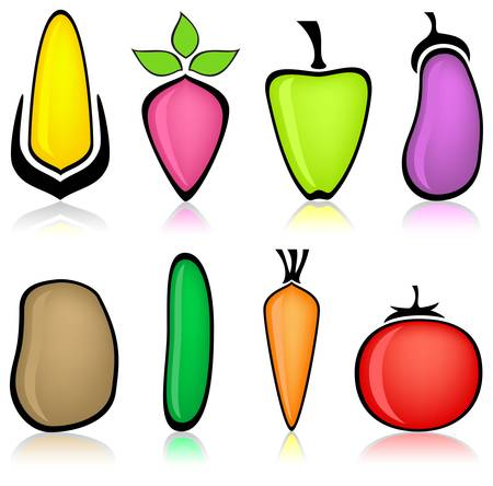 Cartoon vegetable, corn pepper eggplant potatoes carrot tomato cucumber beet vector illustration Vector