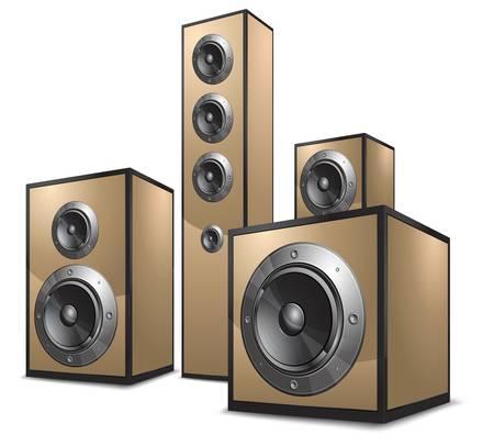 speaker box: Sistema ac�stico de color oro sobre fondo blanco