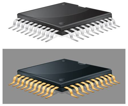 byte: Illustration of computer microchip isolated, integrated circuit, vector