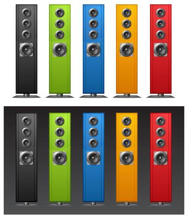 Different color speakers on white background  Vector