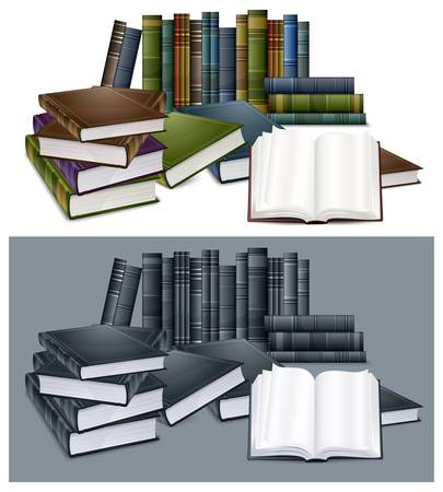 Library new books in colour cover with white sheet vector illustration Vector