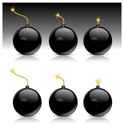 black bomb burn on white background, vector illustration Stock Vector - 9630501