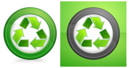 green recycle symbol in round isolated on white background, vector illustration Stock Vector - 9630503