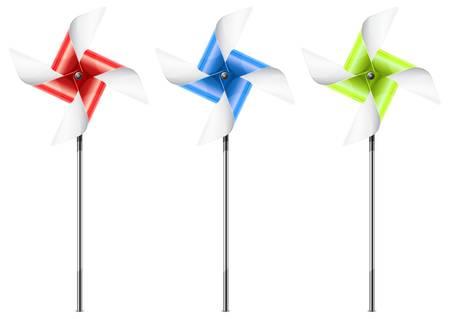 wind wheel: Tre giocattoli girandola di colore