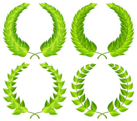 Green laurel wreaths pattern design