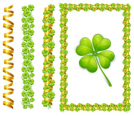 beautify: frame with green clover leaves and gold ribbon, isolated on white background vector illustration