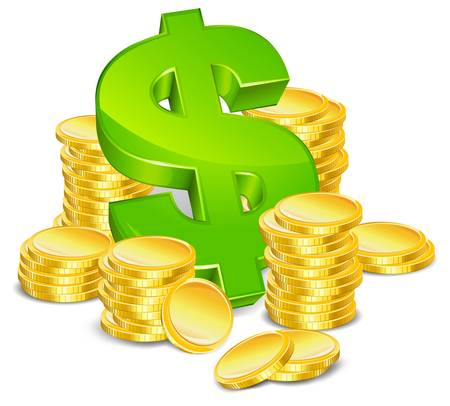 signo pesos: monedas de d�lar y el oro de signo verde sobre ilustraci�n vectorial de fondo blanco aislado Vectores
