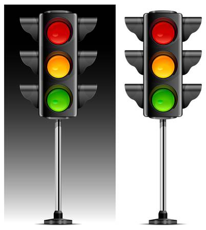 traffic lights with three colour on metallic leg vector illustration