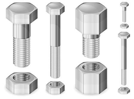 Set of different size metal bolts and nuts isolated on white, vector illustration Illustration