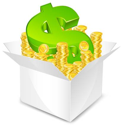 piece d or: bo�te blanche avec pi�ce d'or et un signe dollar vert, isol� illustration vectorielle,