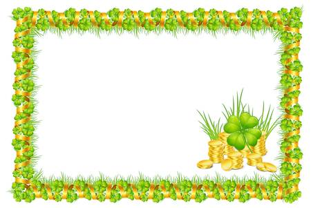 beautify: frame with green clover leaves and gold ribbon, and coins, isolated on white background vector illustration