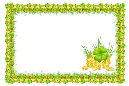 marcos decorados: marco con hojas de trébol verde y la cinta del oro, y monedas, aislado en blanco ilustración vectorial de fondo