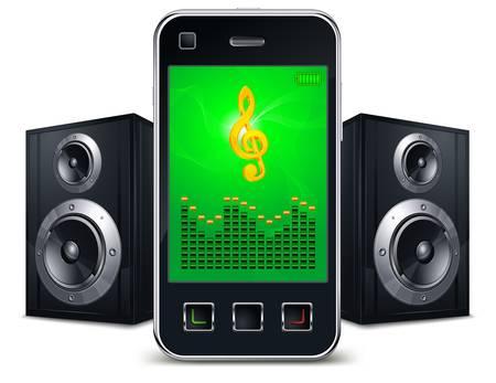 Mobiele telefoon met sprekers en muziek zingen op het scherm op wit, vector illustratie