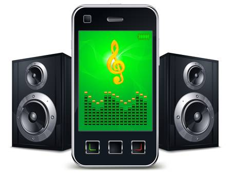 speakers: Mobile phone with speakers and music sing on the screen on white, vector illustration