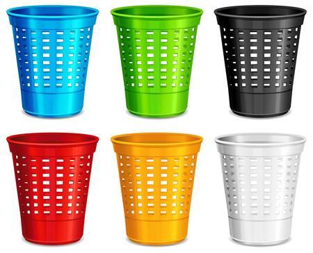 cesto basura: Color de bandeja de plástico, contenedores de basura en el fondo blanco, ilustración vectorial