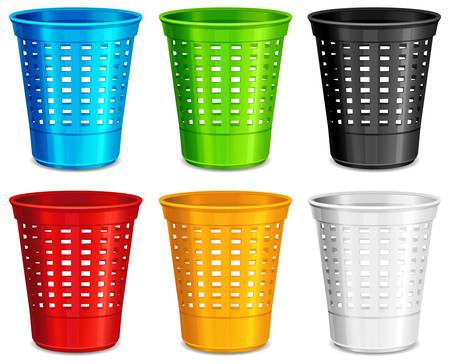 Color plastic basket, trash bins on white background, vector illustration Illustration
