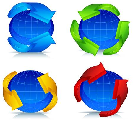 surround: Colored arrows around blue planet, vector illustration