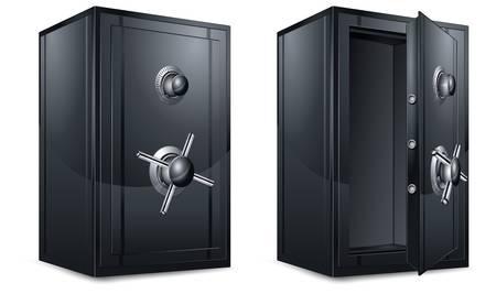 cajas fuertes: Dos cajas de metal negro del banco en blanco, ilustraci�n vectorial Vectores