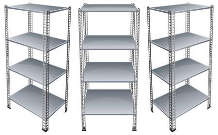 empty shelf: Empty bookshelves isolated on white background, vector illustration Illustration